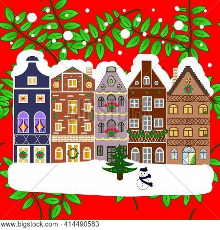 Lonely House On A Hill. Christmas Illustration On Green, Red And White Colors. Mountain Landscape. W
