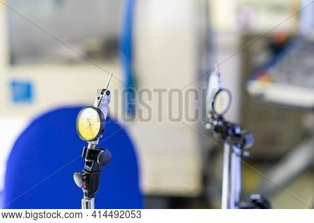 Accuracy And Precision Indicator Dial Gauge Setting On Stand Equipment For Measuring Dimension And O