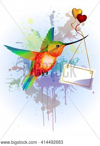Rainbow Humming-bird With Card For Text And Hearts