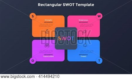 Swot Chart With 4 Colorful Rectangular Elements. Concept Of Companys Threats, Weaknesses, Strengths,