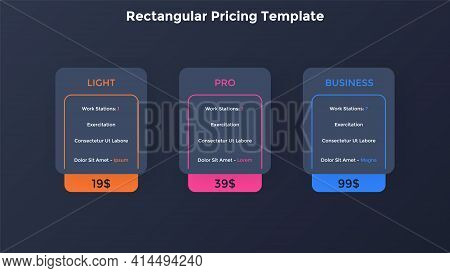 Three Rectangular Pricing Tables. Light, Pro And Business Subscription Plans To Choose With List Of
