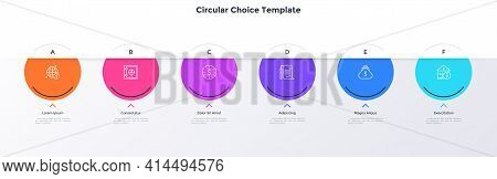 Six Colorful Circular Elements Placed In Horizontal Row. Concept Of 6 Financial Options To Choose. S