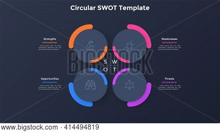 Swot Diagram With 4 Paper Black Round Elements. Concept Of Companys Threats, Weaknesses, Strengths,