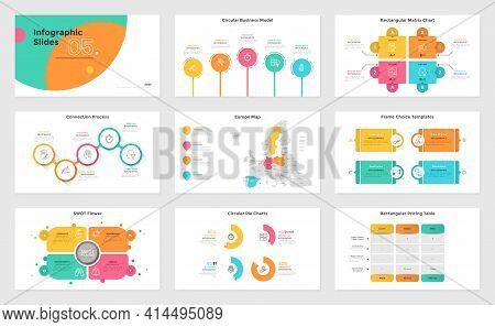 Set Of Presentation Slides - Swot Flower Diagram, Matrix Chart With Jigsaw Puzzle Pieces, Map Of Eur