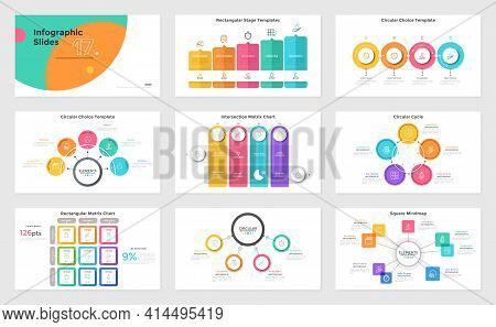 Set Of Presentation Slides Or Pages - Stage Diagram, Cycle And Matrix Charts, Mind Map. Modern Infog