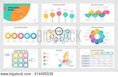 Set Of Presentation Slides - Matrix Chart, Pricing Table, Process And Cycle, Map Of Europe. Modern I