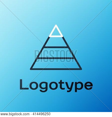 Line Business Pyramid Chart Infographics Icon Isolated On Blue Background. Pyramidal Stages Graph El