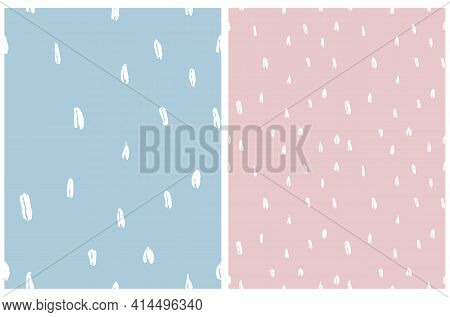 Simple Irregular Geometric Seamless Vector Patterns. White Hand Drawn Spots Isolated On A Light Blue