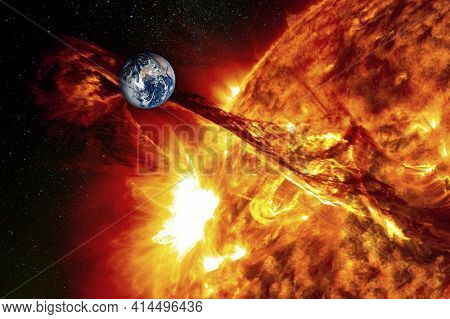 Planet Earth Against The Backdrop Of A Giant Sun, The Concept Of Solar Activity, Geomagnetic Storm.