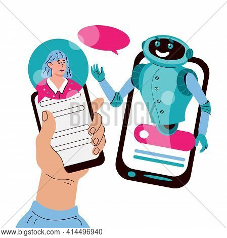 Chatbot Online Support Concept With Woman Communicating With Robot, Cartoon Vector Illustration Isol