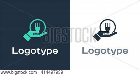 Logotype Online Ordering And Fast Food Delivery Icon Isolated On White Background. Logo Design Templ