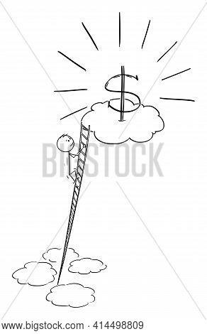 Man Climbing Ladder To Earn Money, Career Or Success , Vector Cartoon Stick Figure Illustration