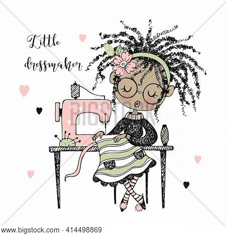 Cute Girl Seamstress Sews On A Sewing Machine Dress. Doodle Style. Vector
