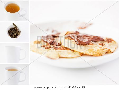 Tea And Pancakes With Chocolate