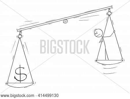 Money And Person On Scale, Human Capital Concept, Vector Cartoon Stick Figure Illustration