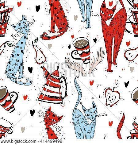 Seamless Pattern On The Theme Of Tea Drinking. Tea With A Kettle And Cats. Tea Time. Vector