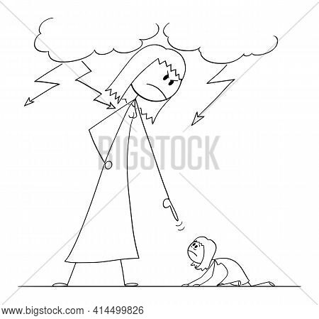 Woman Oppressing Another Woman Using His Power, Vector Cartoon Stick Figure Illustration