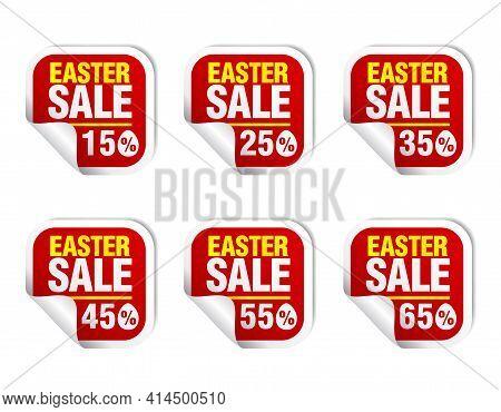 Easter Sale Red Sticker Icon Set. Sale 15%, 25%, 35%, 45%, 55%, 65% Off. Vector Illustration