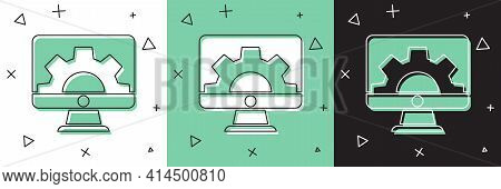 Set Software, Web Development, Programming Concept Icon Isolated On White And Green, Black Backgroun