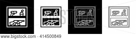 Set Hunting Shop With Rifle And Gun Weapon Icon Isolated On Black And White Background. Supermarket