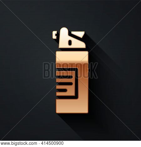 Gold Weapons Oil Bottle Icon Isolated On Black Background. Weapon Care. Long Shadow Style. Vector