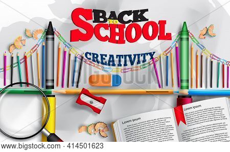 Back To School Vector Concept Design. Back To School Creativity Text With Elements Like Book, Color