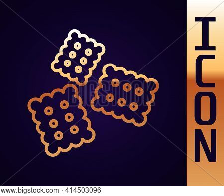 Gold Line Cracker Biscuit Icon Isolated On Black Background. Sweet Cookie. Vector Illustration