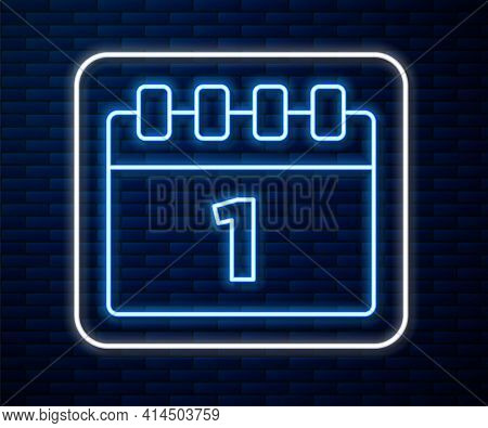 Glowing Neon Line Calendar With First September Date Icon Isolated On Brick Wall Background. Septemb