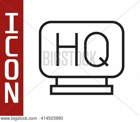 Black Line Military Headquarters Icon Isolated On White Background. Vector