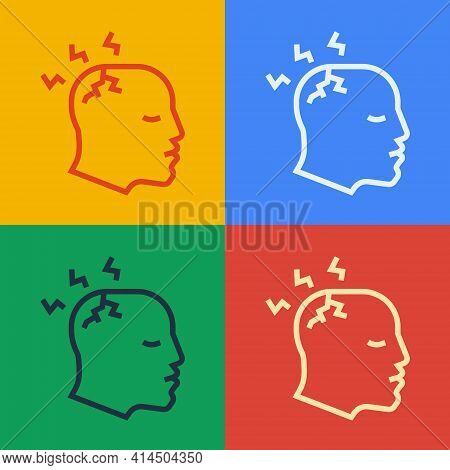 Pop Art Line Man Having Headache, Migraine Icon Isolated On Color Background. Vector