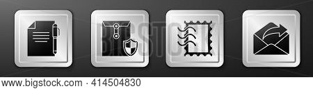 Set Document And Pen, Envelope With Shield, Postal Stamp And Outgoing Mail Icon. Silver Square Butto