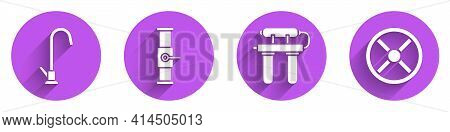 Set Water Tap, Industry Pipe And Valve, Water Filter And Industry Valve Icon With Long Shadow. Vecto