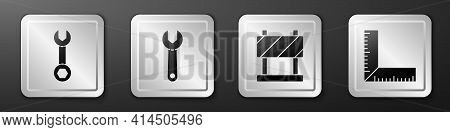 Set Wrench Spanner, Wrench Spanner, Road Barrier And Corner Ruler Icon. Silver Square Button. Vector