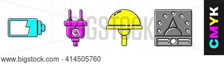 Set Battery Charge Level Indicator, Electric Plug, Light Emitting Diode And Ampere Meter, Multimeter