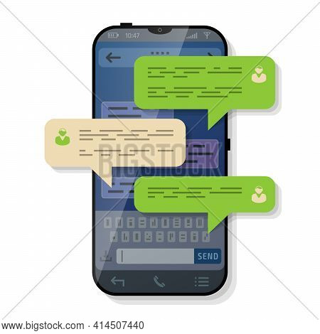 Smartphone With Message Bubbles Of Conversation. Dialog Boxes Pop Up Over Screen Of Phone. Vector Im