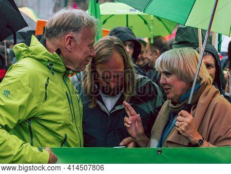 Hamburg, Germany - July 2 2017: Anton Hofreiter, Claudia Roth, Juergen Trittin Before Anti G20 And C