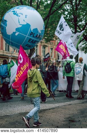 Hamburg, Germany - July 2 2017: Young Boy At Colourful And Peaceful Demonstration Against G20 Summit