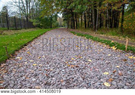 Footpath Covered With Gravel. Preparing For Asphalt