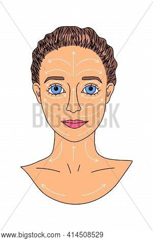 Anti-aging Face And Neck Massage Lines Scheme. Female Beauty Routine.attractive Young White Woman, C