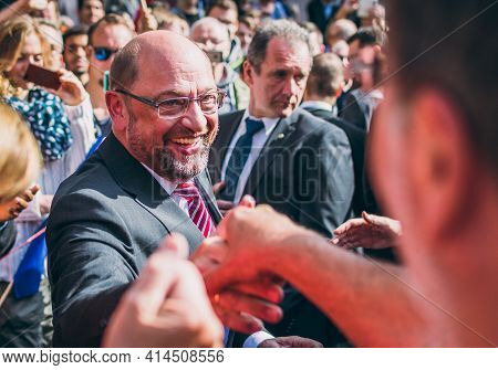Aachen, Germany - 23 September 2017: Martin Schulz, German Politician And Social Democrats Candidate