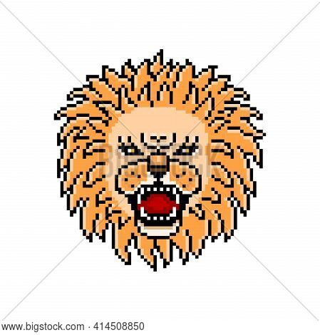 Dangerous Angry Roaring Lion, Pixel Art Animal Head Logo.agressive Wild African Carnivore Predator,
