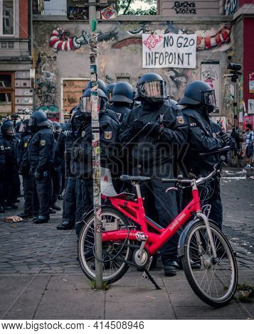 Sternschanze Hamburg - Germany July 7, 2017: Policemen Grouping In Full Gear At The Demonstration. B