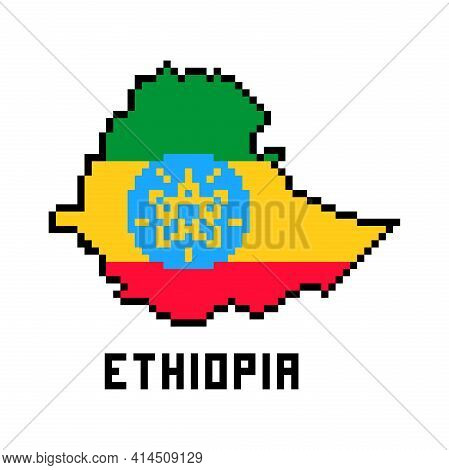 Federal Democratic Republic Of Ethiopia, Pixel Art African Country Map With Flag Isolated On White B