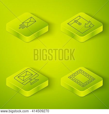 Set Isometric Envelope, Monitor And Envelope, Postal Stamp And Express Envelope Icon. Vector