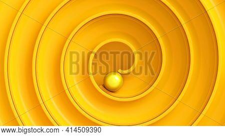 Yellow Ball Roll Through Swirl Maze Viewed From Top. Concept Of Achievement, Reaching Goals. 3d Rend