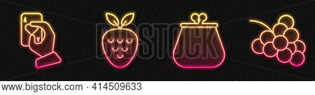 Set Line Wallet, Hand Holding Playing Cards, Casino Slot Machine With Strawberry And Casino Slot Mac