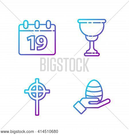 Set Line Human Hand And Easter Egg, Christian Cross, Calendar With Happy Easter And Christian Chalic