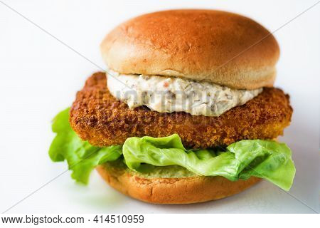 Close Up Of A Crispy Crunchy Fish Fillet Sandwich