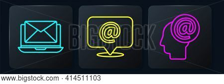 Set Line Laptop With Envelope, Mail And E-mail And Mail And E-mail. Black Square Button. Vector