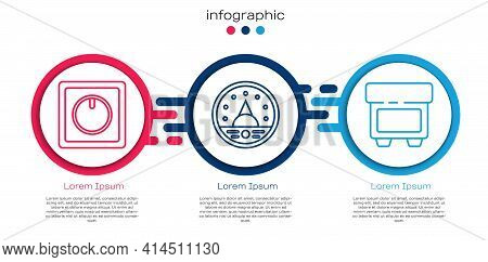 Set Line Electric Light Switch, Ampere Meter, Multimeter, Voltmeter And Fuse. Business Infographic T